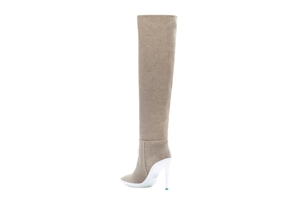 "Off-White™ ""FOR WALKING"" Knee High Canvas Boots Virgil Abloh Heels Stilletto Pump Beige"
