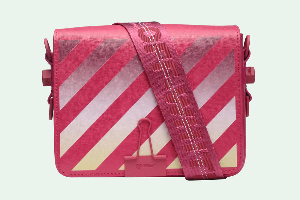 Off-White Binder Clip Bag Gradient Diagonals Pink Virgil Abloh Release Price Where to Buy Online Store Handbag Designer Brand Streetwear