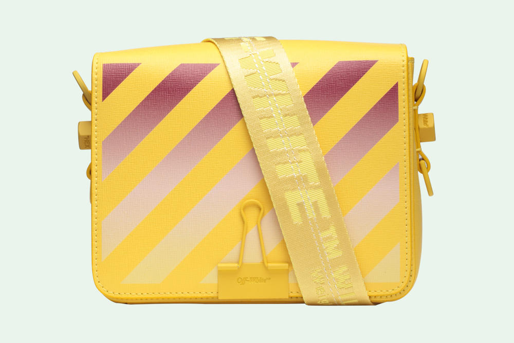 Off-White Binder Clip Bag Gradient Diagonals Yellow Virgil Abloh Release Price Where to Buy Online Store Handbag Designer Brand Streetwear