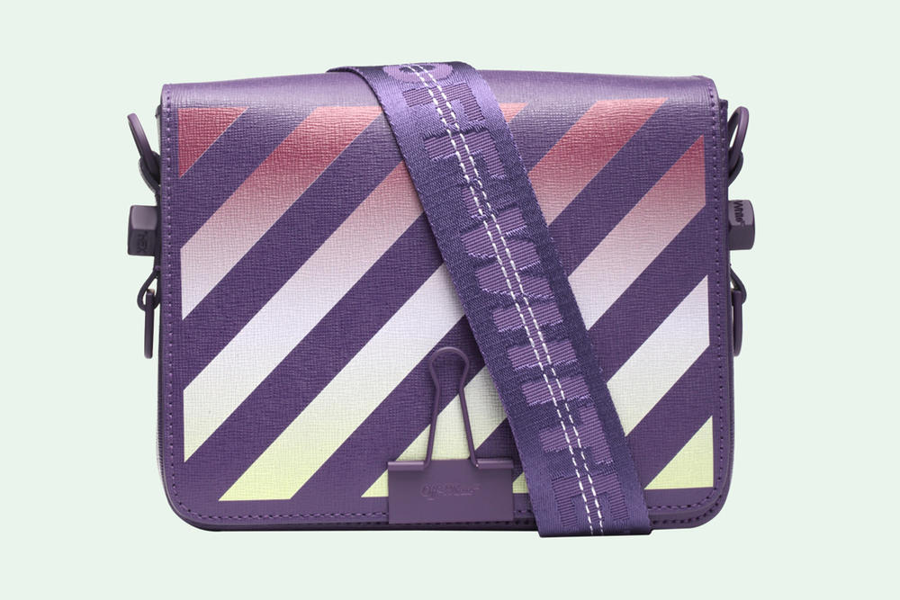 Off-White Binder Clip Bag Gradient Diagonals Purple Virgil Abloh Release Price Where to Buy Online Store Handbag Designer Brand Streetwear