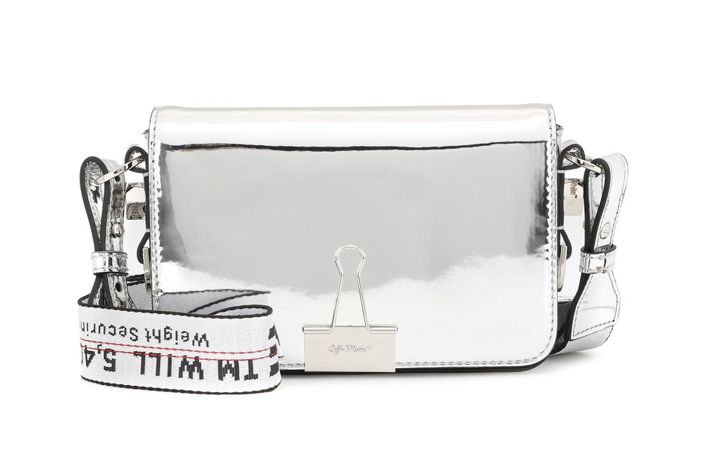 Off-White™ Silver Mirror Mini Binder Clip Bag Virgil Abloh Reflective Shiny Handbag Where to Buy Off White mytheresa.com