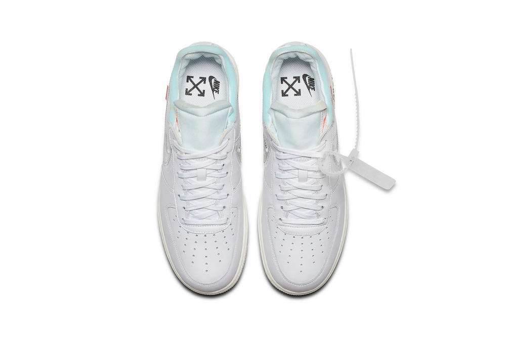"Virgil Abloh x Nike Air Force 1 ""White"" Release Sneaker Off-White White Chrome Blue Zip Tie Tag"