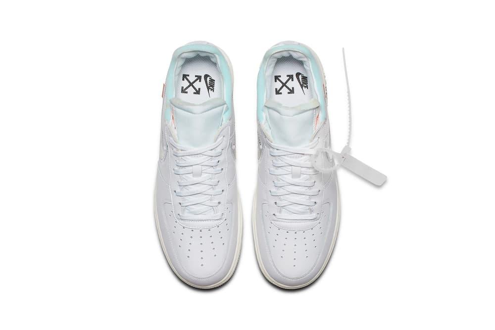 "Virgil Abloh x Nike Air Force 1 ""White"" Release Sneaker Off-White White Chrome Blue Zip Tie Tag"
