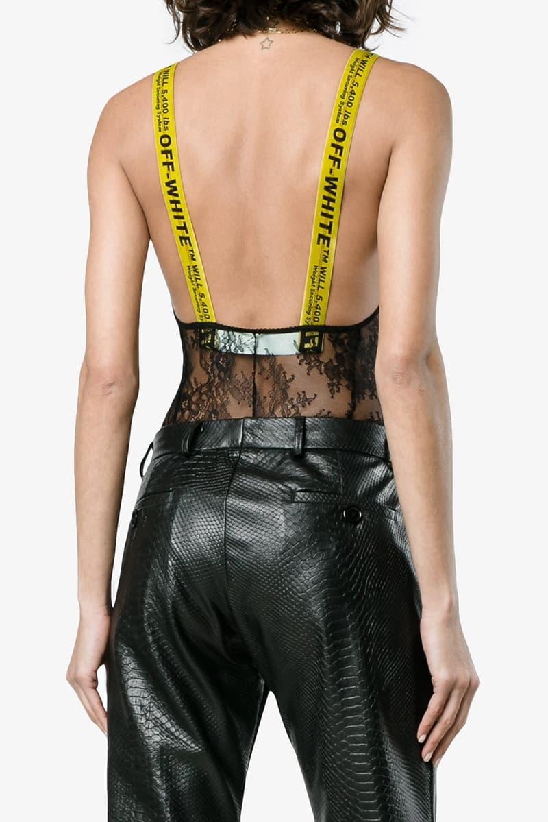Off-White V-Neck Lace Bodysuit Black