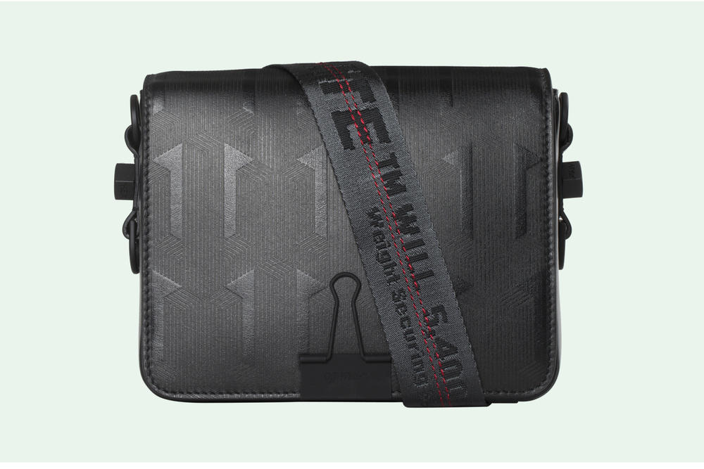 Off-White Geometric Pattern Binder Clip Bag Black