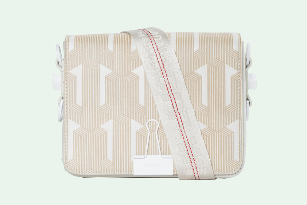 Off-White Geometric Pattern Binder Clip Bag Off-White
