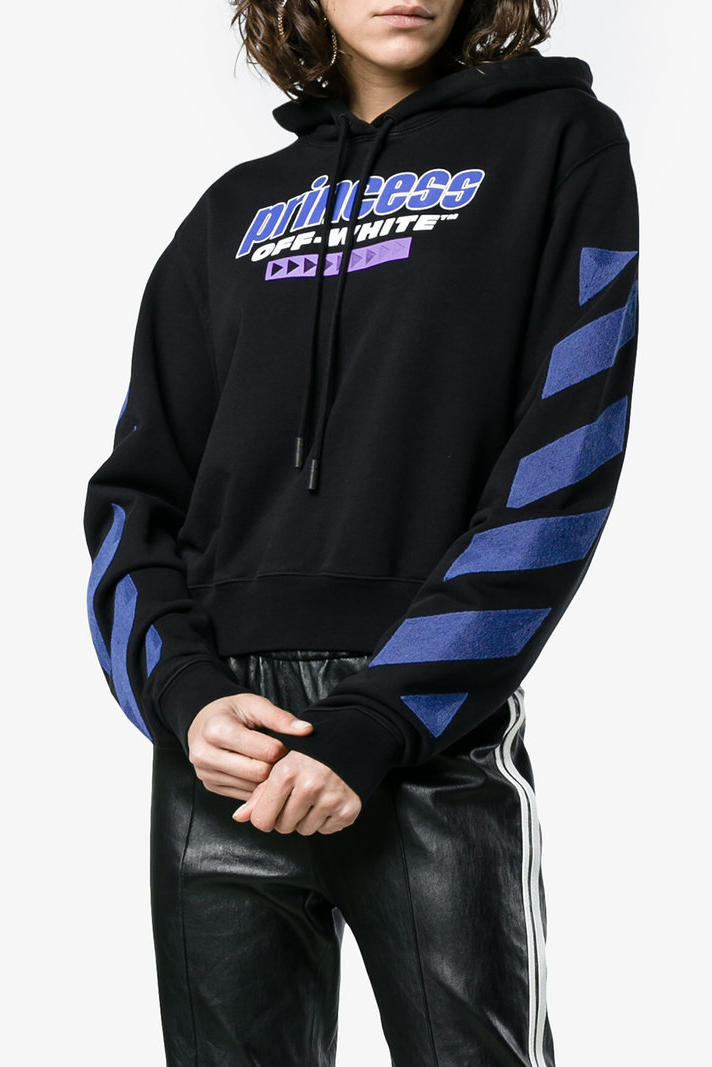 Off-White™ off-white virgil abloh Cropped Princess Logo Hoodie black graphic Diana Browns where to buy brownsfashion.com