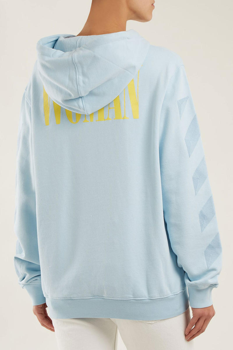 Off White WOMAN Hoodie Hooded Sweatshirt Light Blue Yellow
