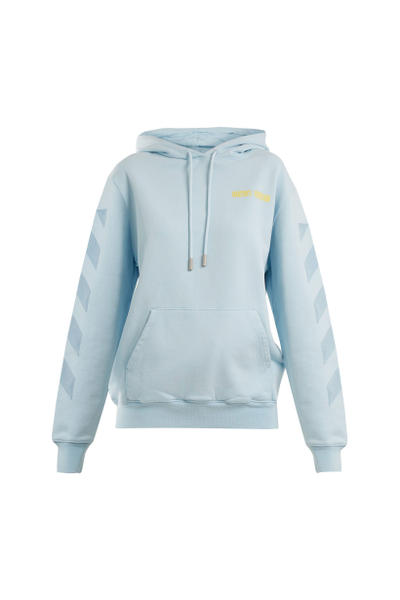Off White WOMAN Hoodie Hooded Sweatshirt Light Blue Yellow