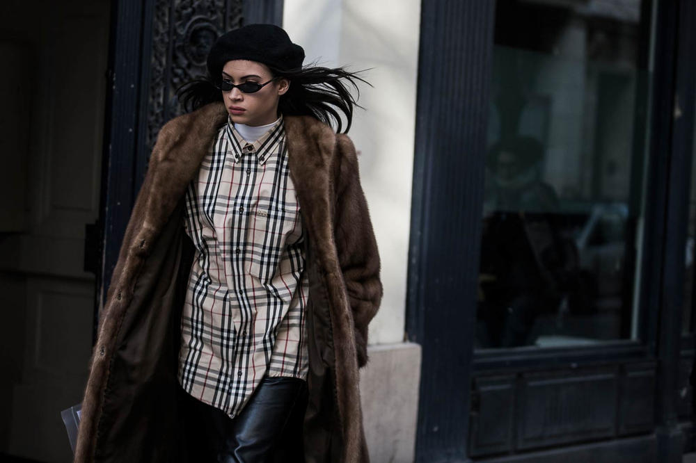 Paris Fashion Week 2018 Streetsnaps Women Burberry Plaid Beret