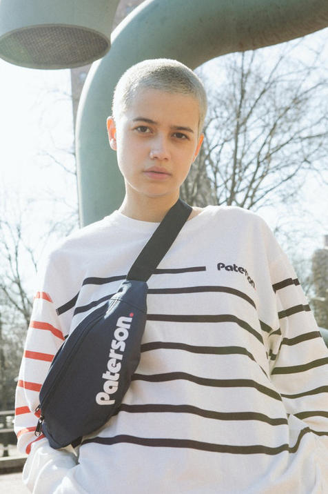 Paterson Spring/Summer 2018 Lookbook Longsleeve Knit Shirt Over Hand Travel Bag