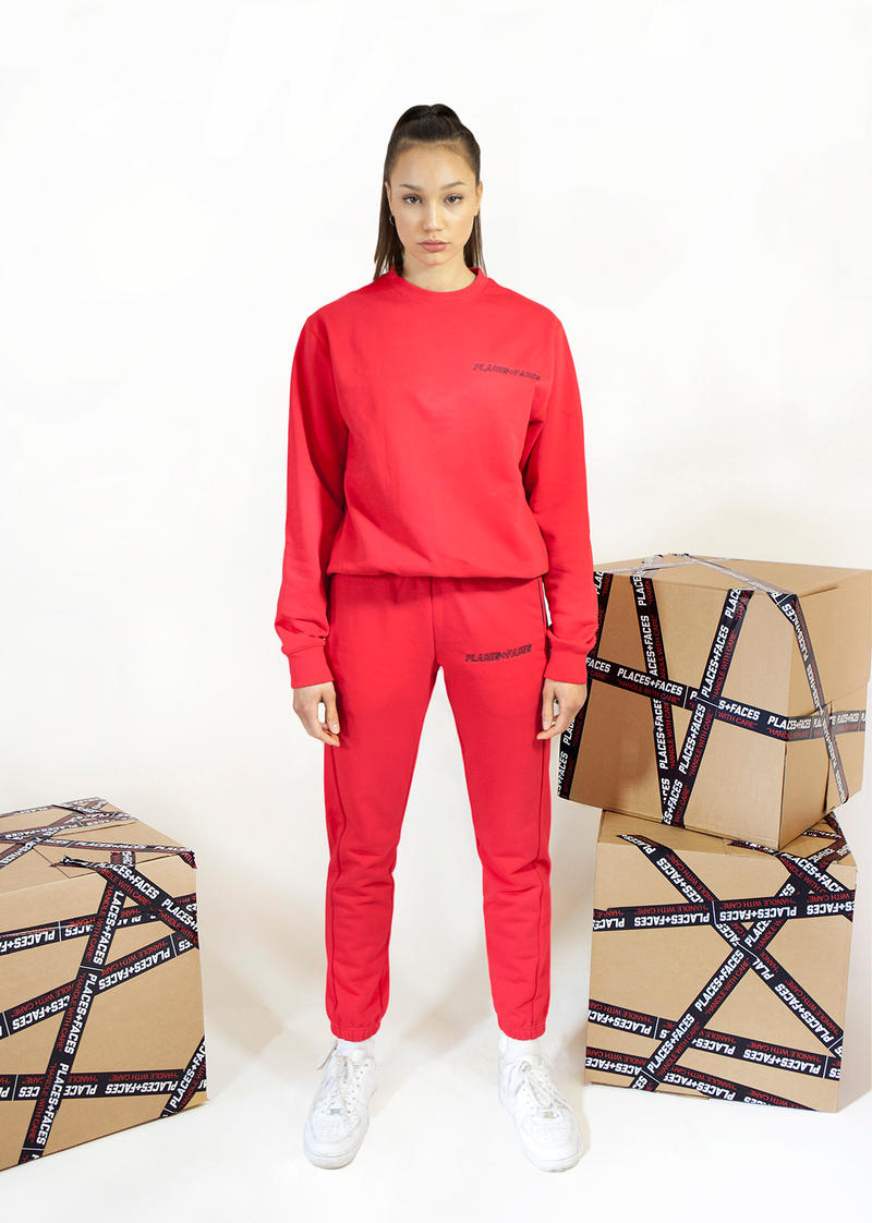 Places+Faces Spring/Summer 2018 Lookbook Crewneck Sweater Joggers Red
