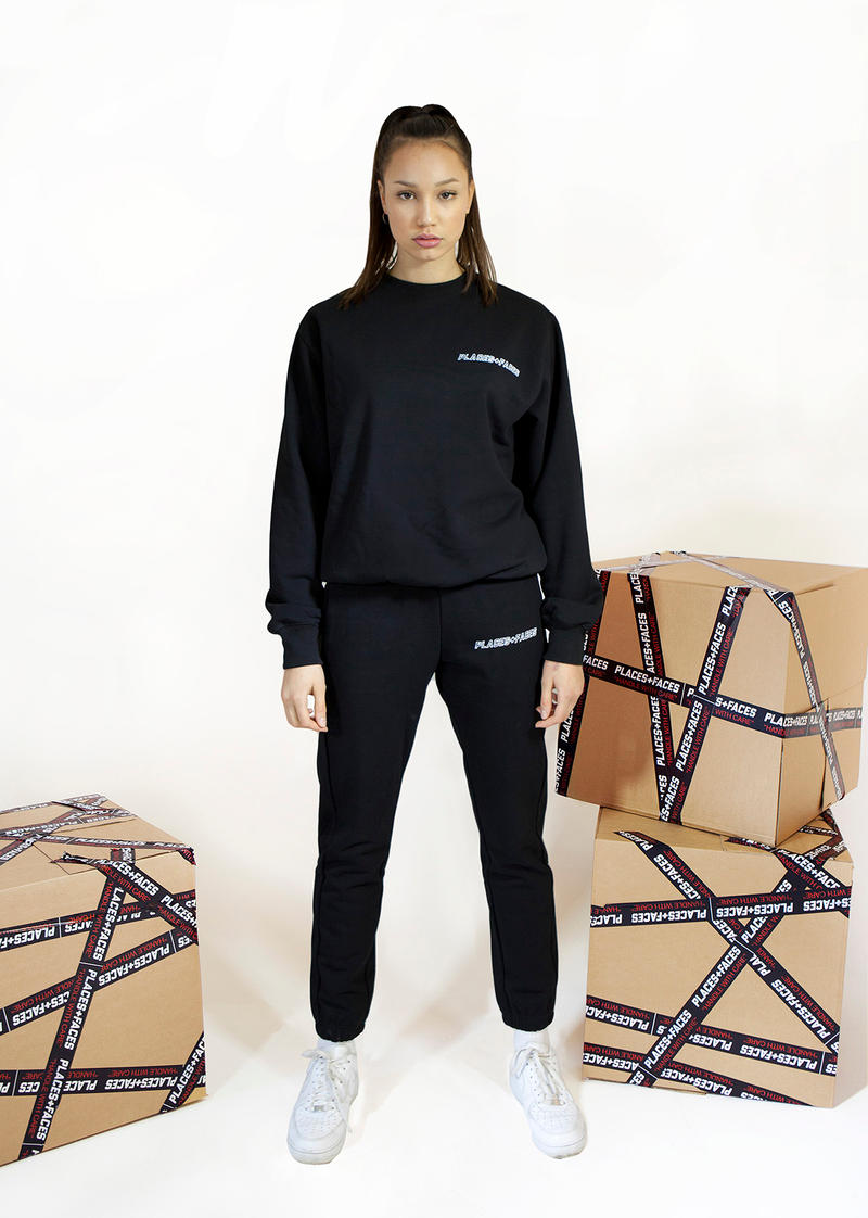 Places+Faces Spring/Summer 2018 Lookbook Crewneck Sweater Joggers Black