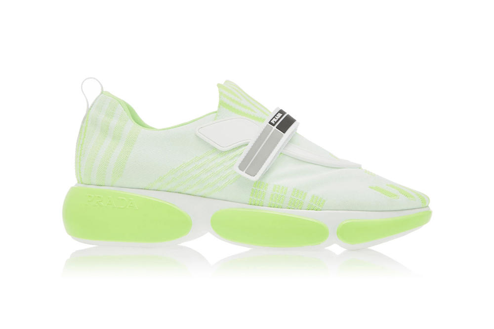 Prada Allacciate Tronchetti Sneakers Trainers Boots Neon Pink Green Orange Black White Sneakerboot Futuristic Fall/Winter 2018 Pre Order Where to Buy Moda Operandi