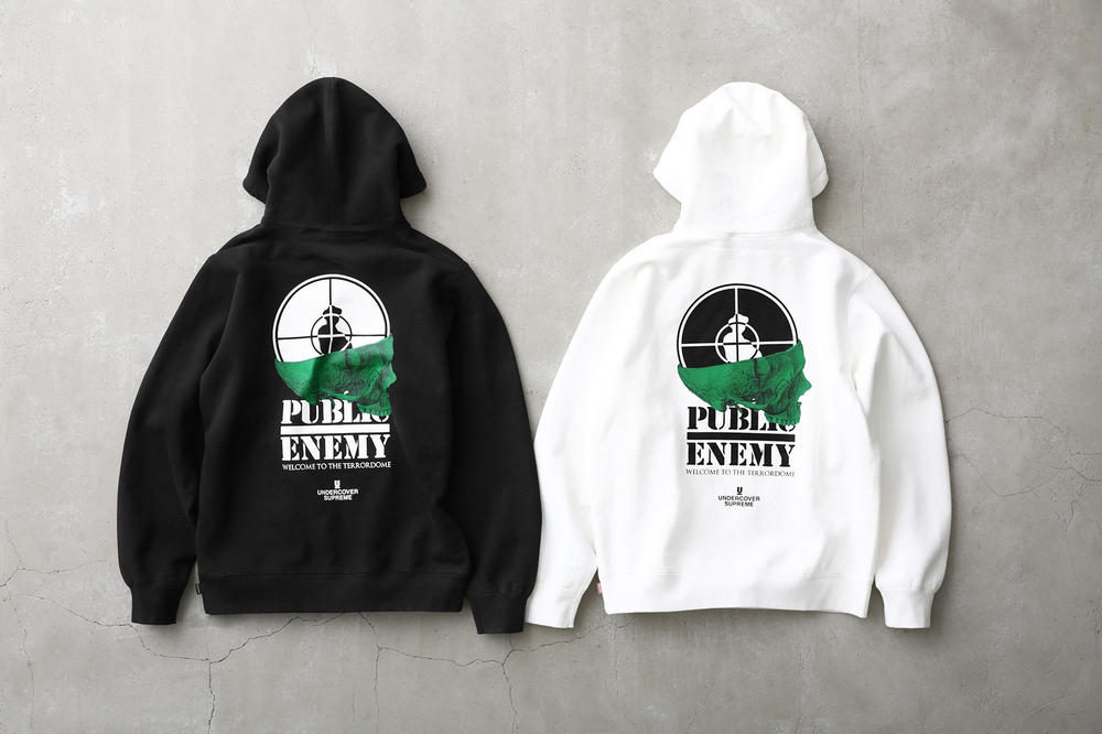 Supreme Public Enemy UNDERCOVER Hoodie Black White