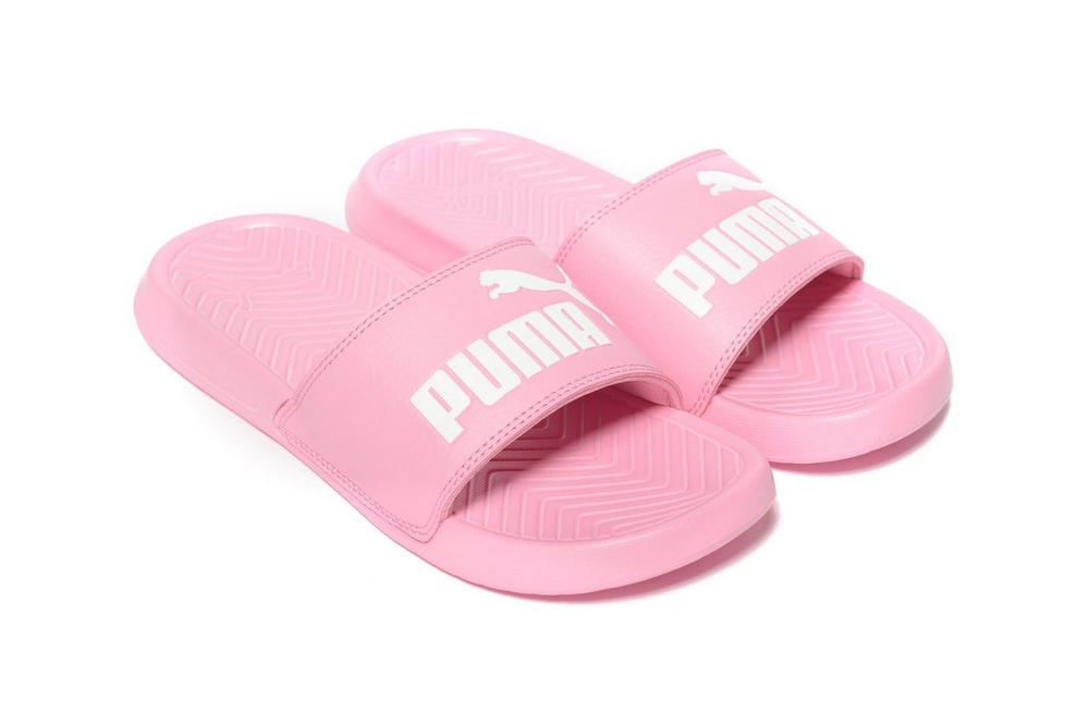 PUMA Popcat Logo Slides Bubblegum Pastel Bright Pink Women's Girls Ladies Slip-ons Sandals Where To Buy Affordable Cheap JD Sports