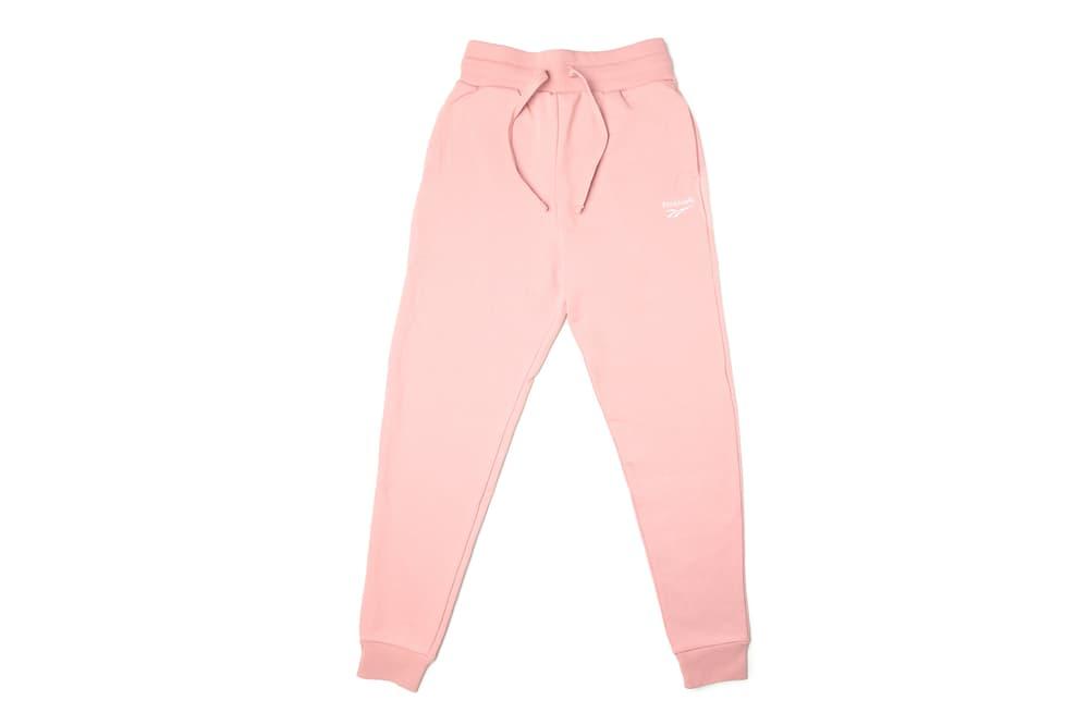 Reebok Millennial Pink Sweatshirt Sweatpants Set Logo Track Pants Pastel Chalk Women's Athleisure where to buy naked