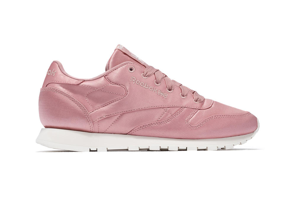 95a0e00e9d7d Reebok Millennial Pastel Pink Satin Classic Leather CL Sneakers Trainers  Silk Shoes Women s Ladies Girls Where