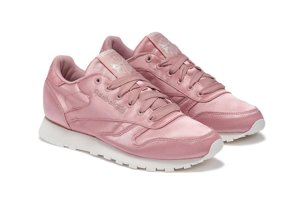 Reebok Millennial Pastel Pink Satin Classic Leather CL Sneakers Trainers Silk Shoes Women's Ladies Girls Where to Buy HBX