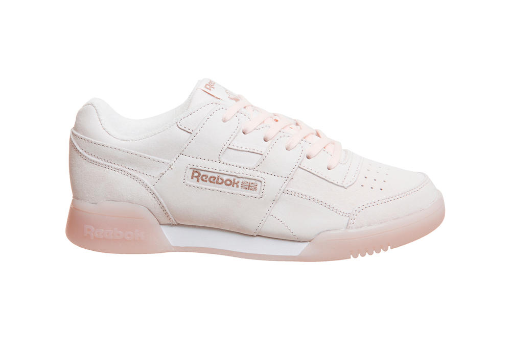 Reebok Workout Plus Pastel Pink Rose Gold metallic light sneakers trainers women's girls ladies exclusive OFFICE where to buy