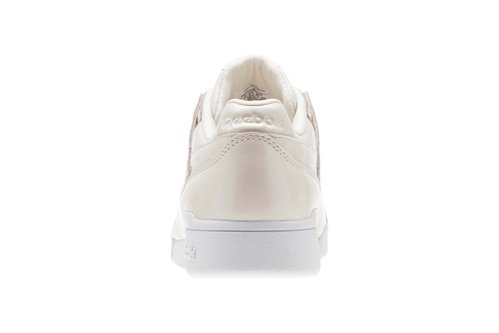 "Reebok Workout Plus in ""Pale Pink/White"" Sneaker Shoe Iridescent Pearl Shine Classic Silhouette"