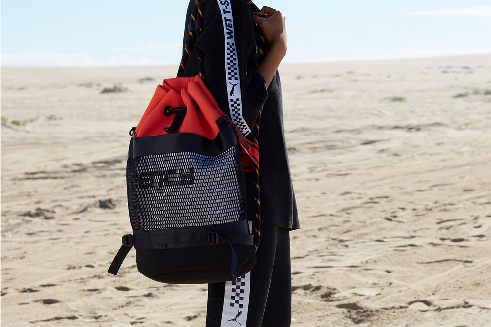 Fenty puma rihanna spring summer 2018 ss19 campaign slick woods scuba surf motosports cleated creeper neon fanny pack bum bag rucksack sneakerboots