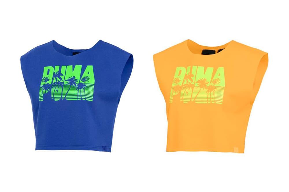 Rihanna Fenty PUMA Spring Summer 2018 Short Sleeve Crop Top Dazzling Blue Orange Pop