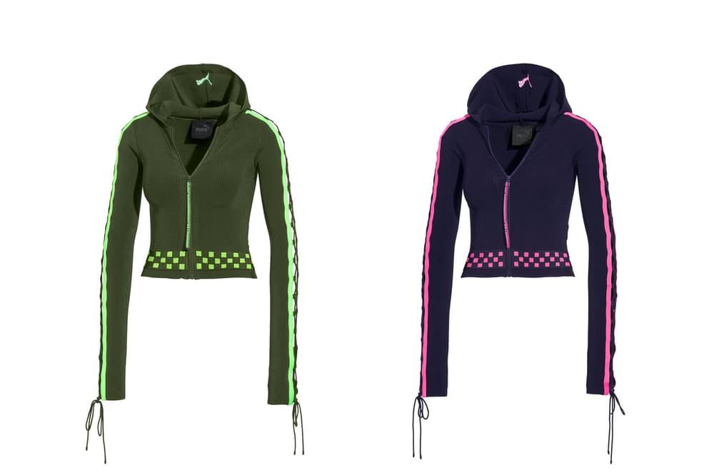 Rihanna Fenty PUMA Spring Summer 2018 Laced Sleeve Sweater Zip Hoodie Black Pink Green