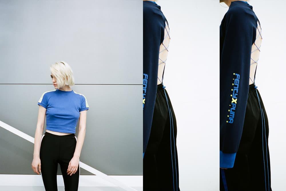 Rihanna Fenty PUMA HBXWM HBX Editorial Cropped Short Sleeve T-Shirt Hoodie Blue