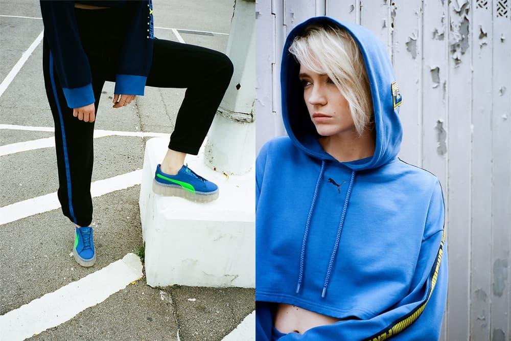 Rihanna Fenty PUMA HBXWM HBX Editorial Hooded Longsleeve Cropped Sweatshirt Sweatpants Blue Black