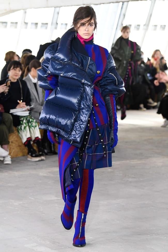 Sacai Fall Winter 2018 Paris Fashion Week Show Collection Puffer Coat Blue