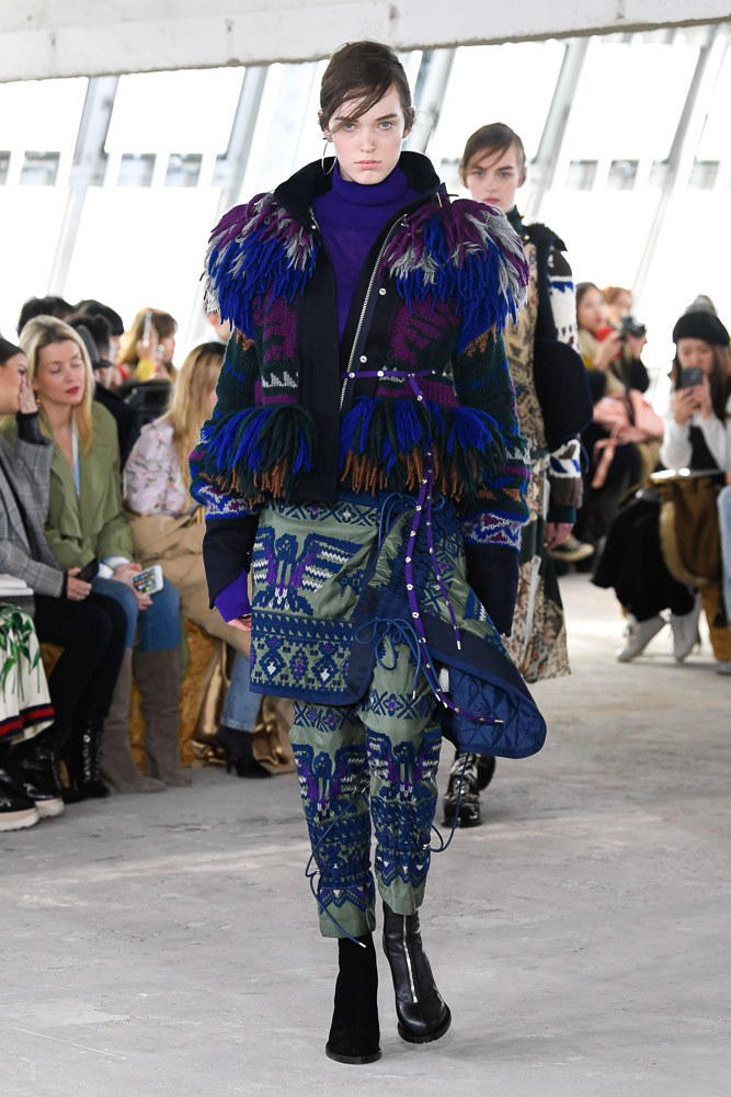 Sacai Fall Winter 2018 Paris Fashion Week Show Collection Patterned Coat Blue Purple