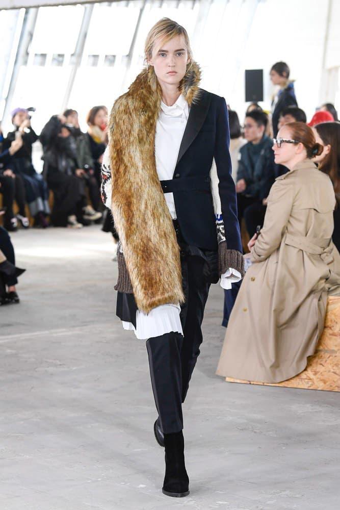Sacai Fall Winter 2018 Paris Fashion Week Show Collection Fur Blazer Navy Brown