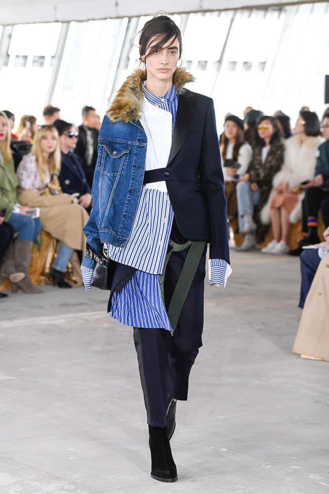 Sacai Fall Winter 2018 Paris Fashion Week Show Collection Striped Shirt Denim Jacket Blazer Brown Blue White