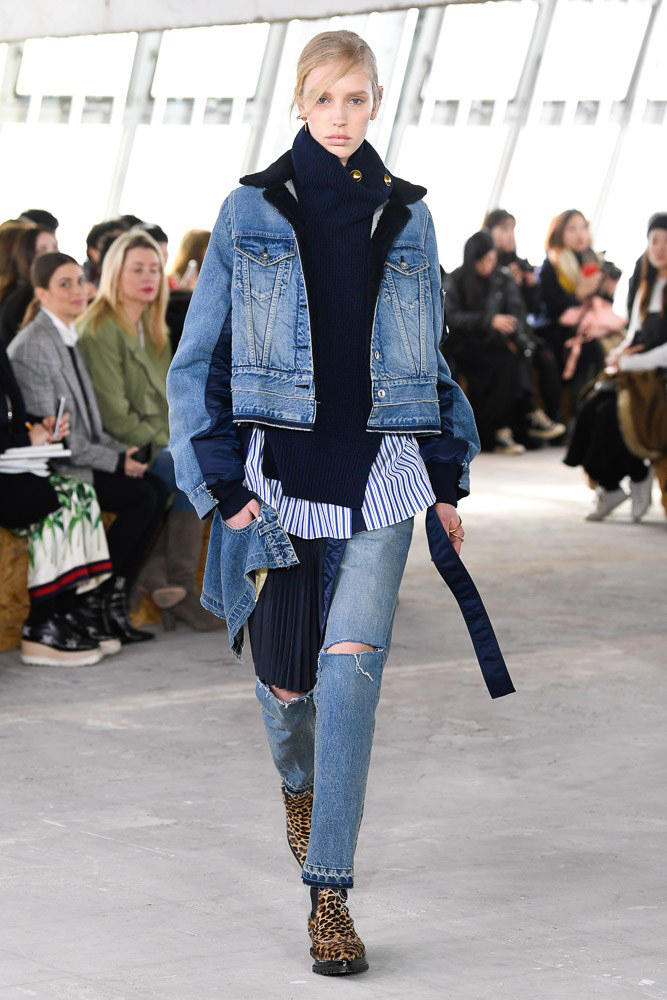 Sacai Fall Winter 2018 Paris Fashion Week Show Collection Sweater Denim Jacket Striped Shirt Blue