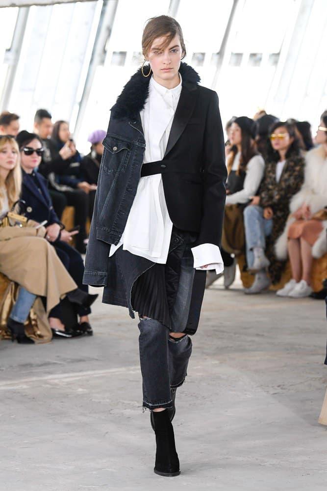 Sacai Fall Winter 2018 Paris Fashion Week Show Collection Collared Shirt Denim Jacket Blazer Black White