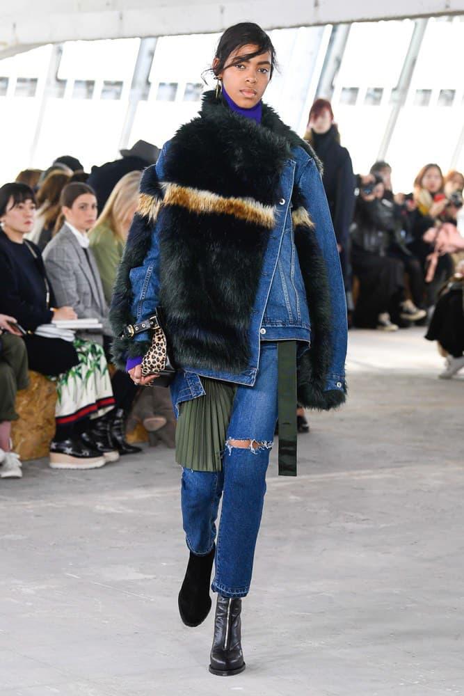 Sacai Fall Winter 2018 Paris Fashion Week Show Collection Denim Jacket Fur Blue Brown Black