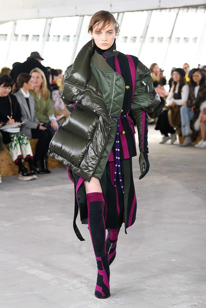 Sacai Fall Winter 2018 Paris Fashion Week Show Collection Puffer Coat Green