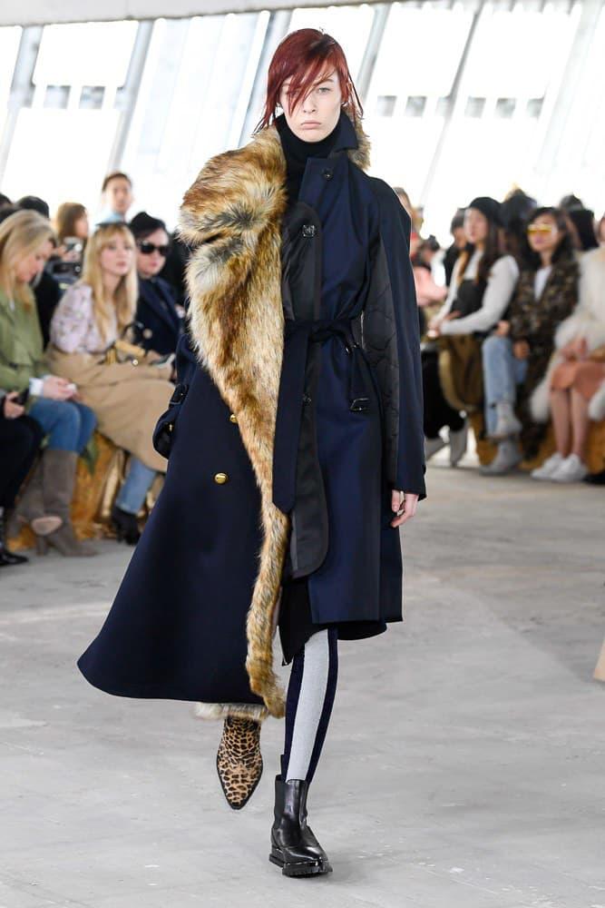 Sacai Fall Winter 2018 Paris Fashion Week Show Collection Fur Coat Blue Brown