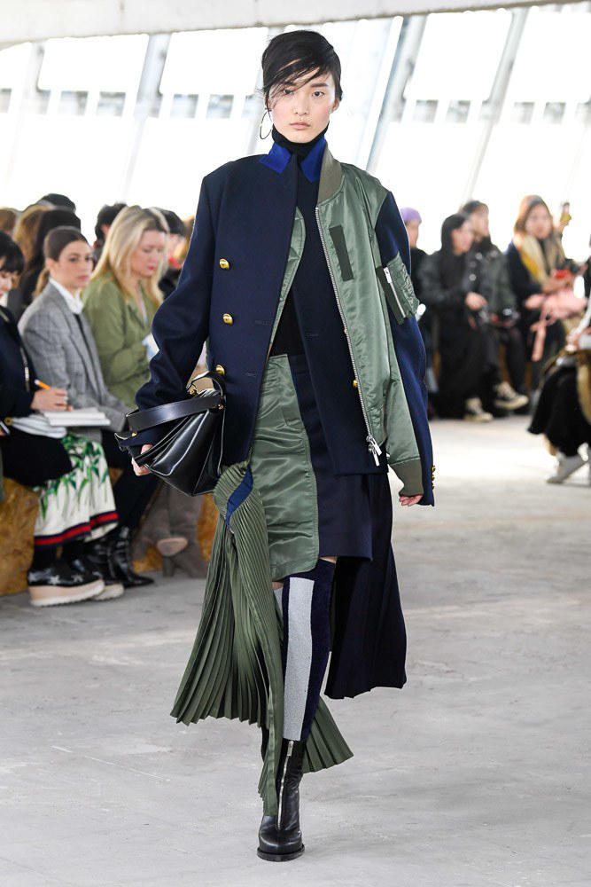 Sacai Fall Winter 2018 Paris Fashion Week Show Collection Bomber Jacket Skirt Blue Green