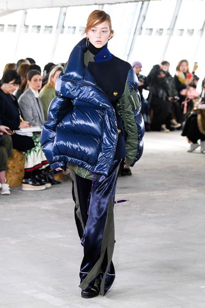 Sacai Fall Winter 2018 Paris Fashion Week Show Collection Puffer Coat Trousers Green Blue