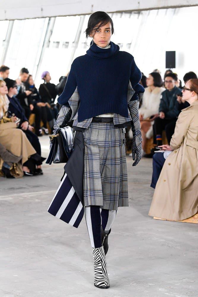 Sacai Fall Winter 2018 Paris Fashion Week Show Collection Plaid Sweater Skirt Grey Blue