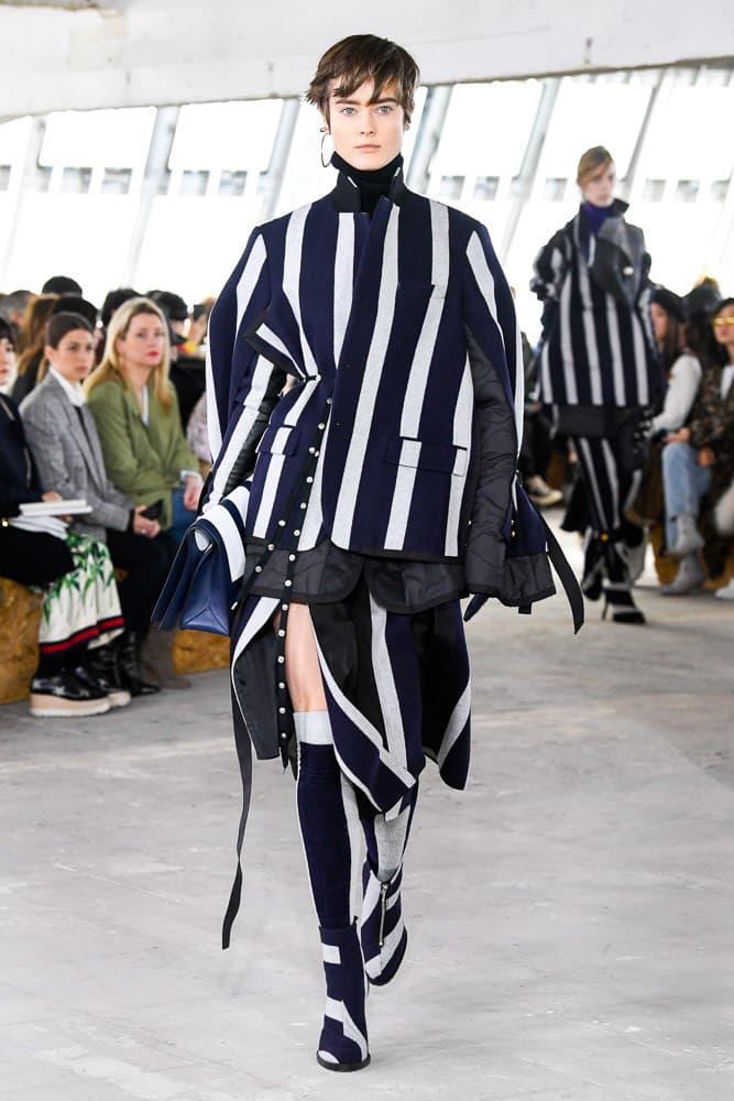 Sacai Fall Winter 2018 Paris Fashion Week Show Collection Blazer Skirt Striped Grey Blue