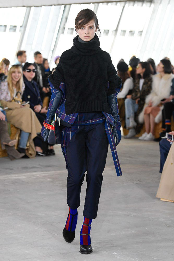 Sacai Fall Winter 2018 Paris Fashion Week Show Collection Sweater Trousers Black Blue