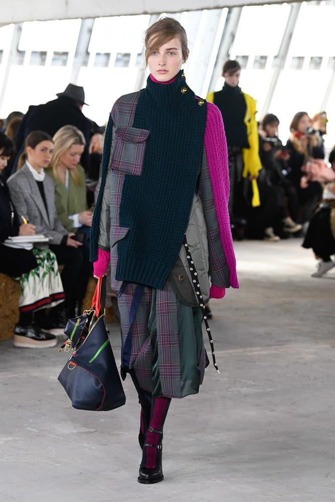 Sacai Fall Winter 2018 Paris Fashion Week Show Collection Sweater Skirt Plaid