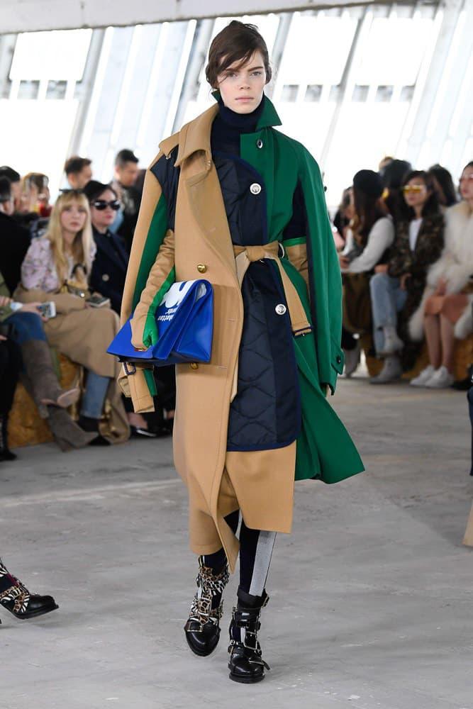 Sacai Fall Winter 2018 Paris Fashion Week Show Collection Jacket Tan Green
