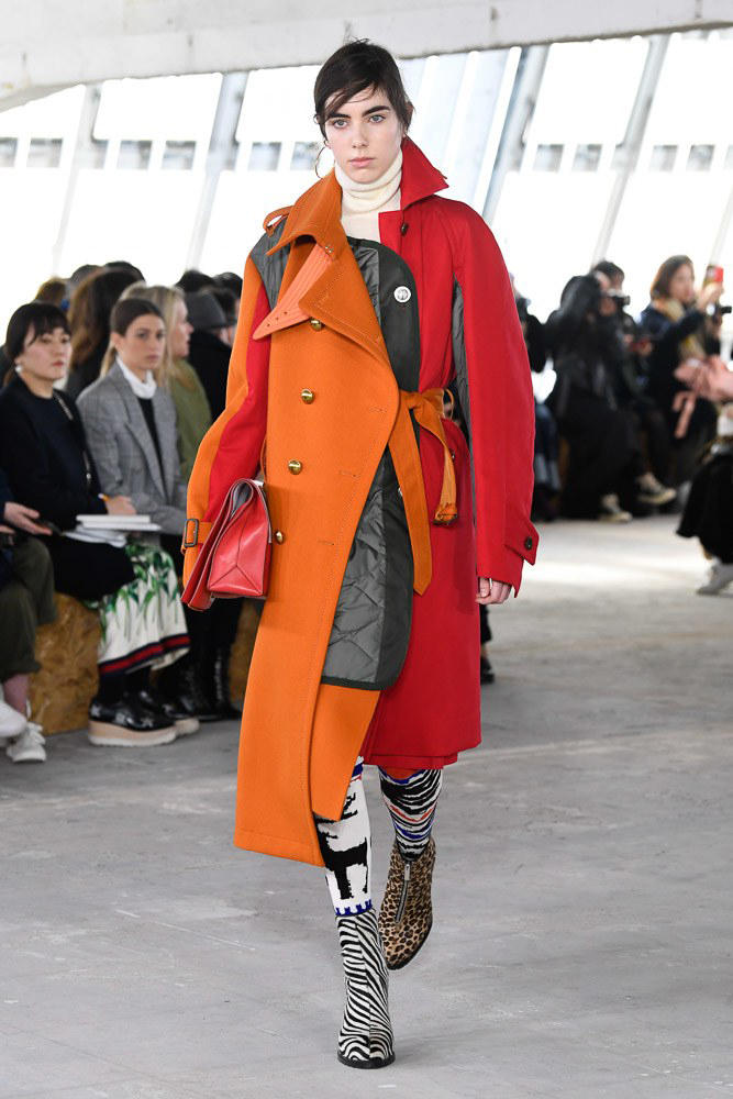 Sacai Fall Winter 2018 Paris Fashion Week Show Collection Jacket Orange Red