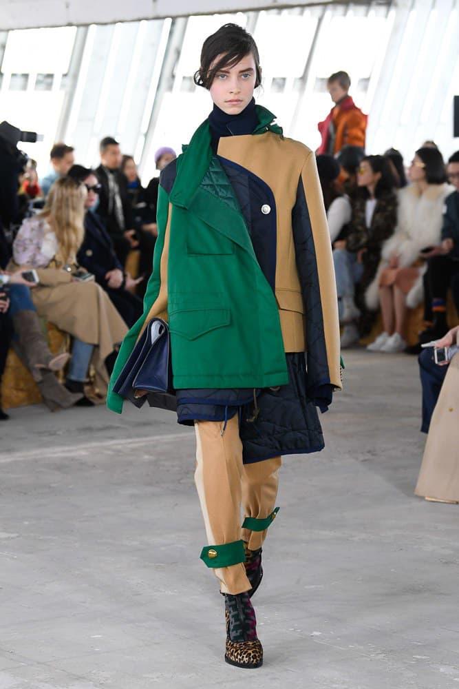 Sacai Fall Winter 2018 Paris Fashion Week Show Collection Jacket Trousers Green Tan