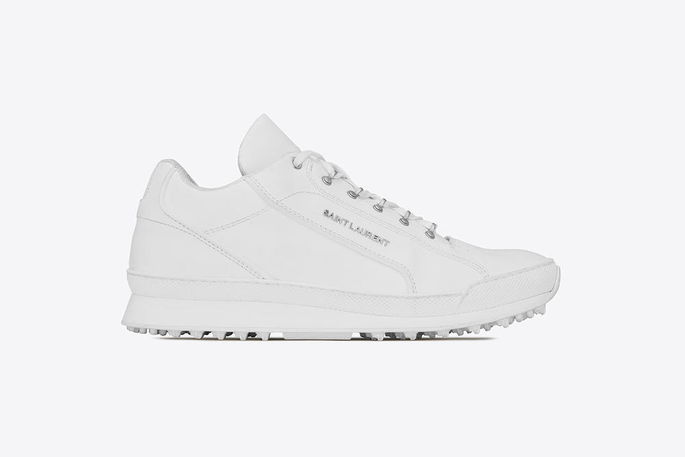 saint laurent jump sneaker premium white leather chunky shoe profile side view silver