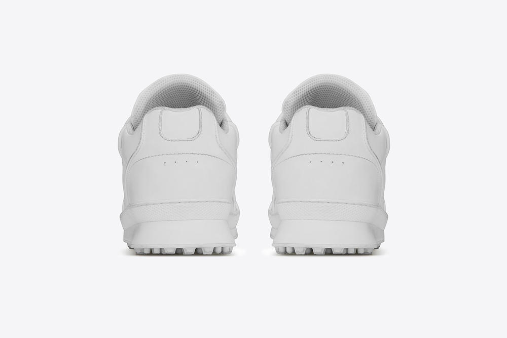 saint laurent jump sneaker premium white leather chunky shoe rear hind view